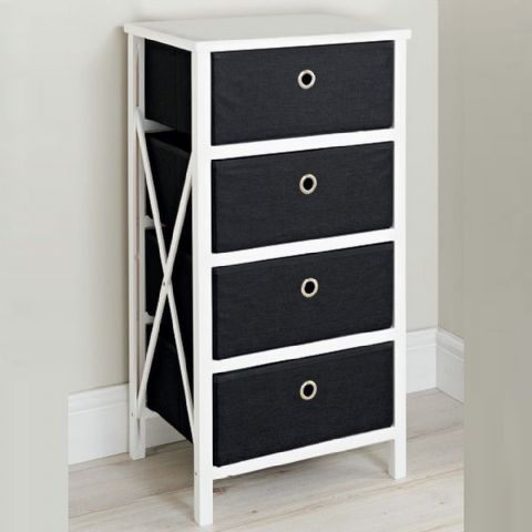 Black & White Small Bedroom Chest of Drawers
